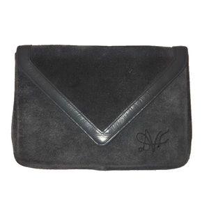 Vintage DVF Gray Suede Envelope Clutch Purse